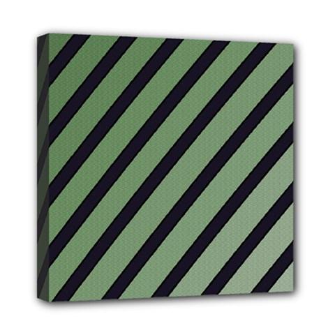 Green elegant lines Mini Canvas 8  x 8