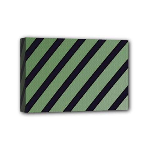 Green elegant lines Mini Canvas 6  x 4