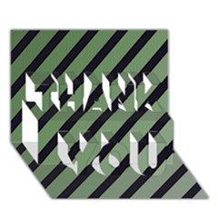 Green elegant lines THANK YOU 3D Greeting Card (7x5)