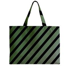Green elegant lines Zipper Mini Tote Bag