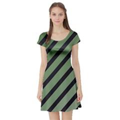 Green elegant lines Short Sleeve Skater Dress
