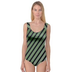 Green Elegant Lines Princess Tank Leotard