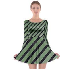 Green elegant lines Long Sleeve Skater Dress
