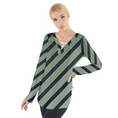 Green elegant lines Women s Tie Up Tee