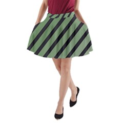 Green Elegant Lines A Line Pocket Skirt