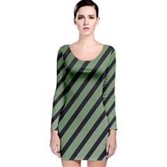 Green elegant lines Long Sleeve Velvet Bodycon Dress