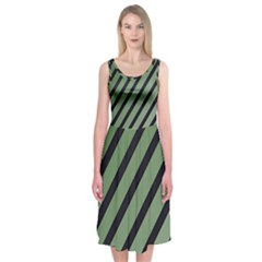 Green Elegant Lines Midi Sleeveless Dress