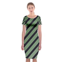Green Elegant Lines Classic Short Sleeve Midi Dress