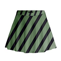 Green elegant lines Mini Flare Skirt