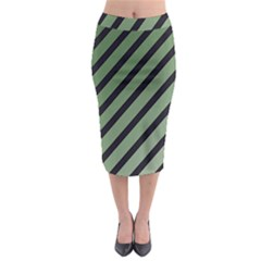 Green Elegant Lines Midi Pencil Skirt