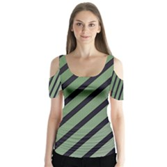 Green Elegant Lines Butterfly Sleeve Cutout Tee