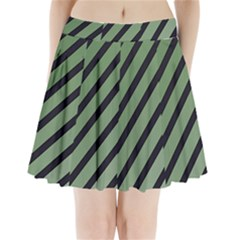 Green Elegant Lines Pleated Mini Mesh Skirt