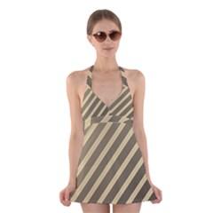 Golden Elegant Lines Halter Swimsuit Dress