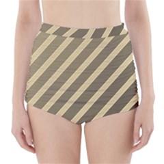 Golden elegant lines High-Waisted Bikini Bottoms