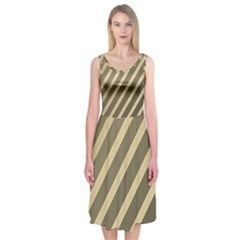 Golden Elegant Lines Midi Sleeveless Dress