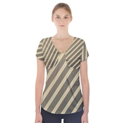 Golden Elegant Lines Short Sleeve Front Detail Top