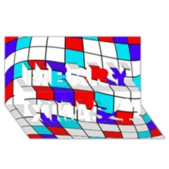 Colorful cubes  Merry Xmas 3D Greeting Card (8x4)