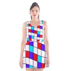 Colorful cubes  Scoop Neck Skater Dress