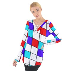 Colorful Cubes  Women s Tie Up Tee