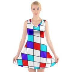 Colorful cubes  V-Neck Sleeveless Skater Dress