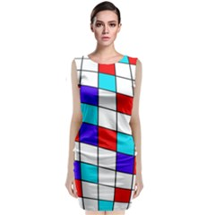 Colorful Cubes  Classic Sleeveless Midi Dress