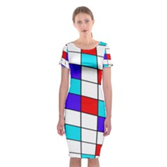 Colorful Cubes  Classic Short Sleeve Midi Dress