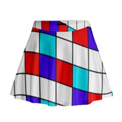 Colorful Cubes  Mini Flare Skirt