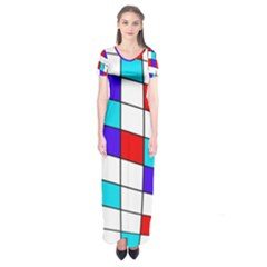 Colorful Cubes  Short Sleeve Maxi Dress