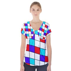 Colorful Cubes  Short Sleeve Front Detail Top