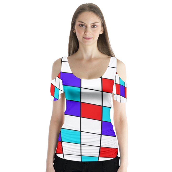 Colorful cubes  Butterfly Sleeve Cutout Tee