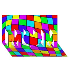 Colorful Cubes Mom 3d Greeting Card (8x4)
