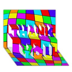 Colorful cubes THANK YOU 3D Greeting Card (7x5)