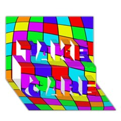 Colorful cubes TAKE CARE 3D Greeting Card (7x5)