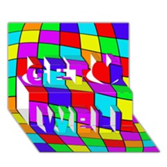 Colorful cubes Get Well 3D Greeting Card (7x5)