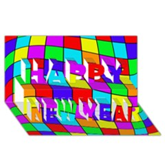 Colorful cubes Happy New Year 3D Greeting Card (8x4)