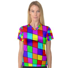 Colorful cubes Women s V-Neck Sport Mesh Tee