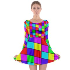 Colorful cubes Long Sleeve Skater Dress