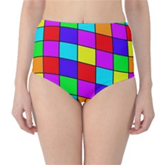 Colorful cubes High-Waist Bikini Bottoms