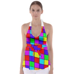 Colorful cubes Babydoll Tankini Top