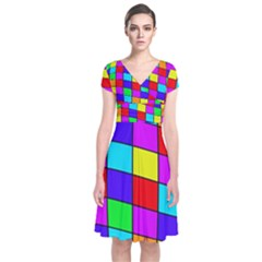 Colorful Cubes Short Sleeve Front Wrap Dress