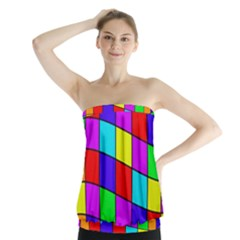 Colorful Cubes Strapless Top