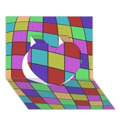 Colorful cubes  Heart 3D Greeting Card (7x5)