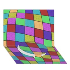 Colorful Cubes  Circle Bottom 3d Greeting Card (7x5)