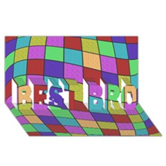 Colorful Cubes  Best Bro 3d Greeting Card (8x4)