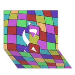 Colorful cubes  Ribbon 3D Greeting Card (7x5)