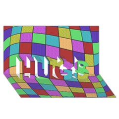 Colorful cubes  HUGS 3D Greeting Card (8x4)