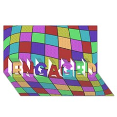 Colorful cubes  ENGAGED 3D Greeting Card (8x4)