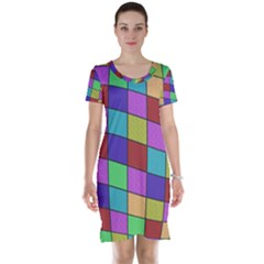 Colorful cubes  Short Sleeve Nightdress
