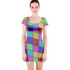 Colorful cubes  Short Sleeve Bodycon Dress
