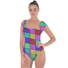 Colorful cubes  Short Sleeve Leotard